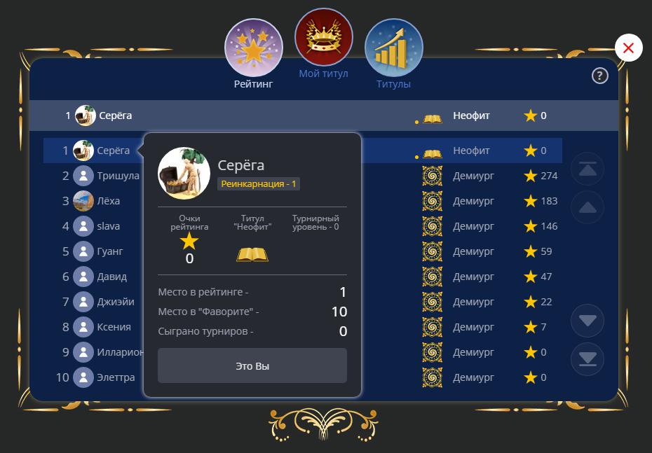 Точка рядом с титулом в рейтинге показывает, что игрок прошел реинкарнацию. Также номер реинкарнации отображается во всплывающем окне с информацией о пользователе.